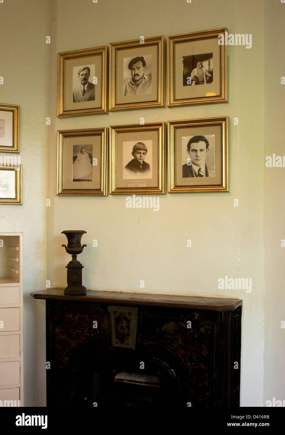 Framed photos of Hemingway at his house in Key West, Florida. Stock Photo