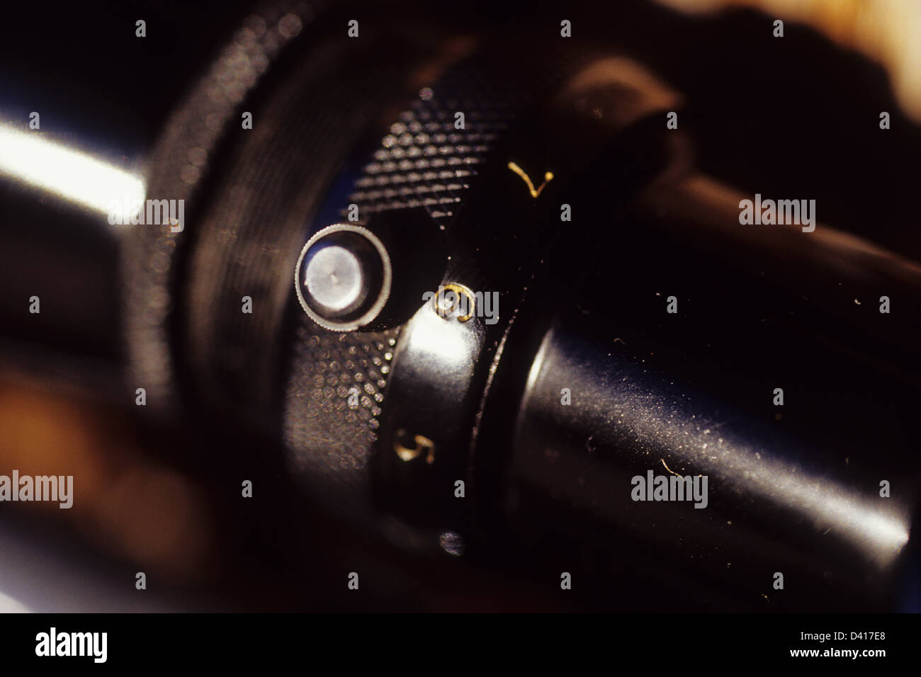 Detail of hunting rifle scope - Stock Image