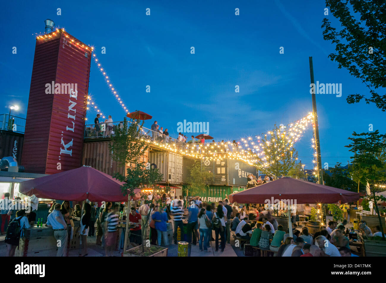 Open air Bar, Frau Gerolds Garten, Kreis 5, Zurich, Switzerland - Stock Image
