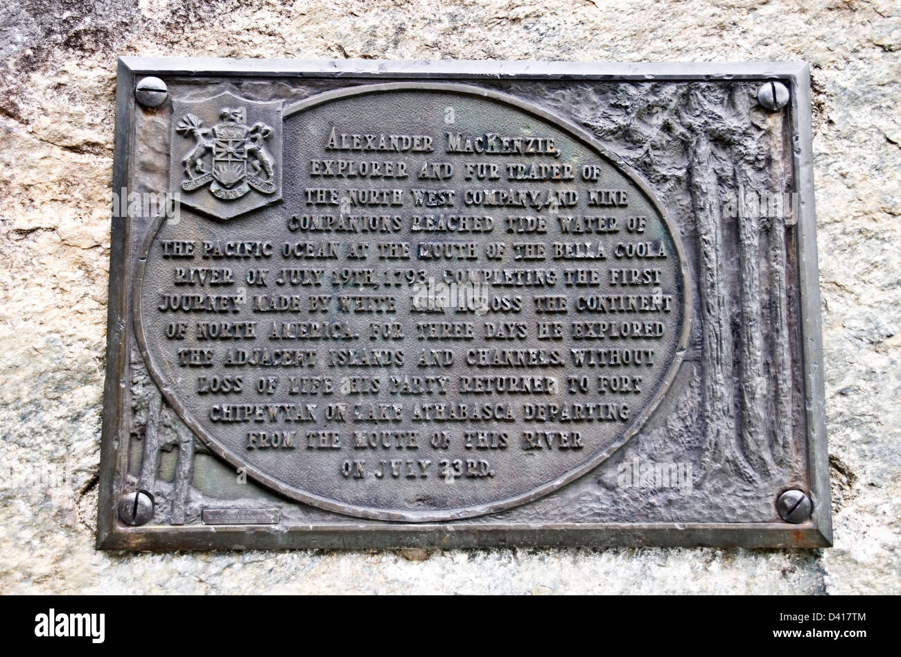 A plaque commemorating Alexander Mackenzie's east-west crossing of North America at Bella Coola, British Columbia, - Stock Image