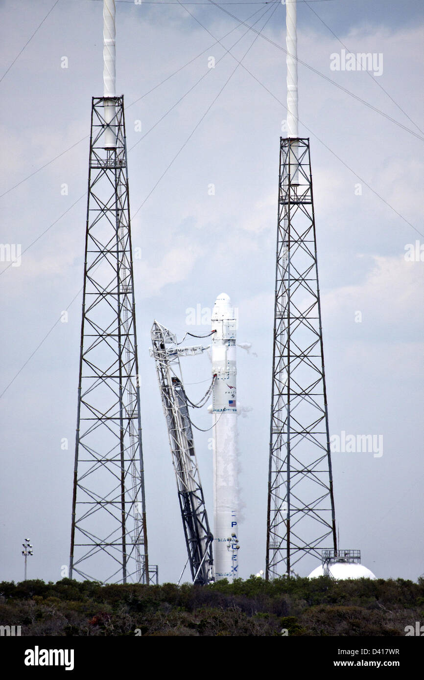 The SpaceX Falcon 9 commercial launch rocket on the launch pad at Launch Complex 40 in preparation for the upcoming - Stock Image