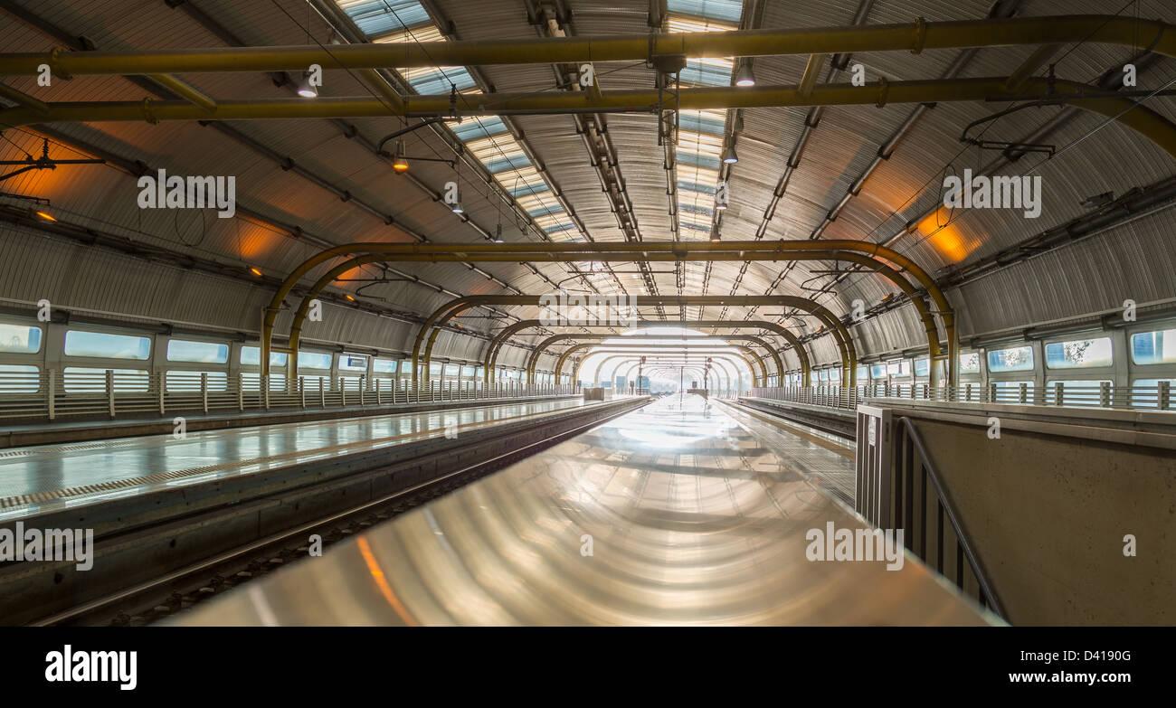 Railway station at Rome Fiumicino Airport station Leonardo da Vinci Express goes into city center - Stock Image