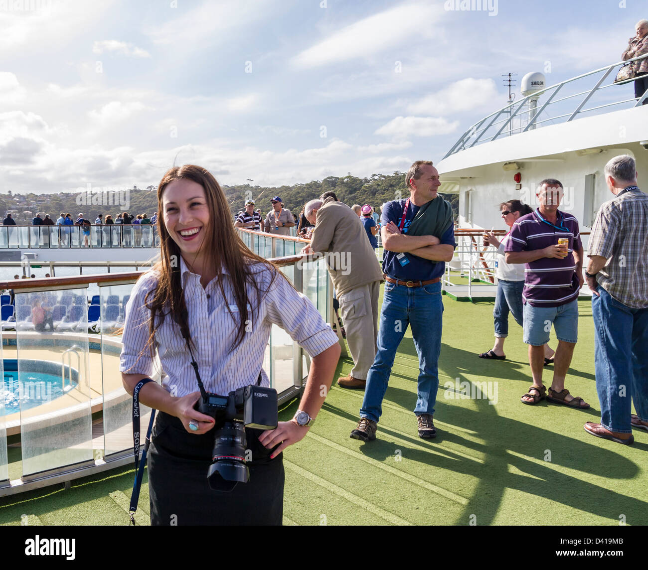 Smiling Cruise Ship Photographer On PO Pacific Pearl Taking