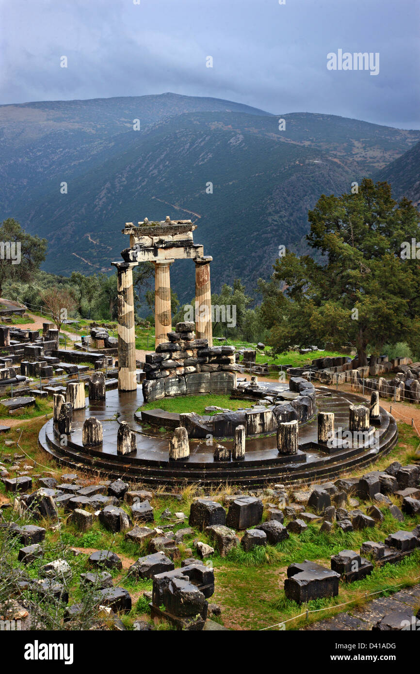 "The temple of Athena Pronaia (Pronaea) at  ancient Delphi, the ""navel""  of the ancient world, Fokida, Central Greece. Stock Photo"