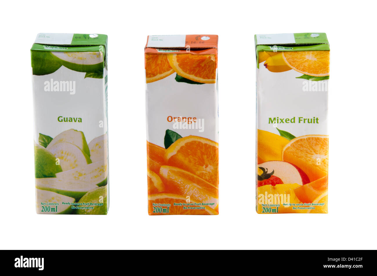 Juice boxes - Guava , orange, mixed fruit - Stock Image