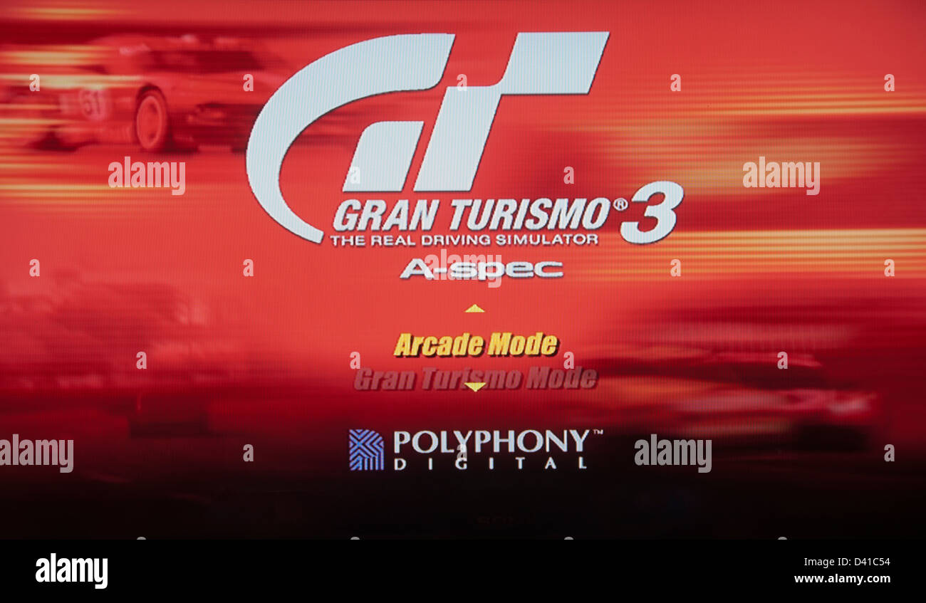 Gran Turismo, GT 3 GT3 video computer game mode selection screen - Stock Image