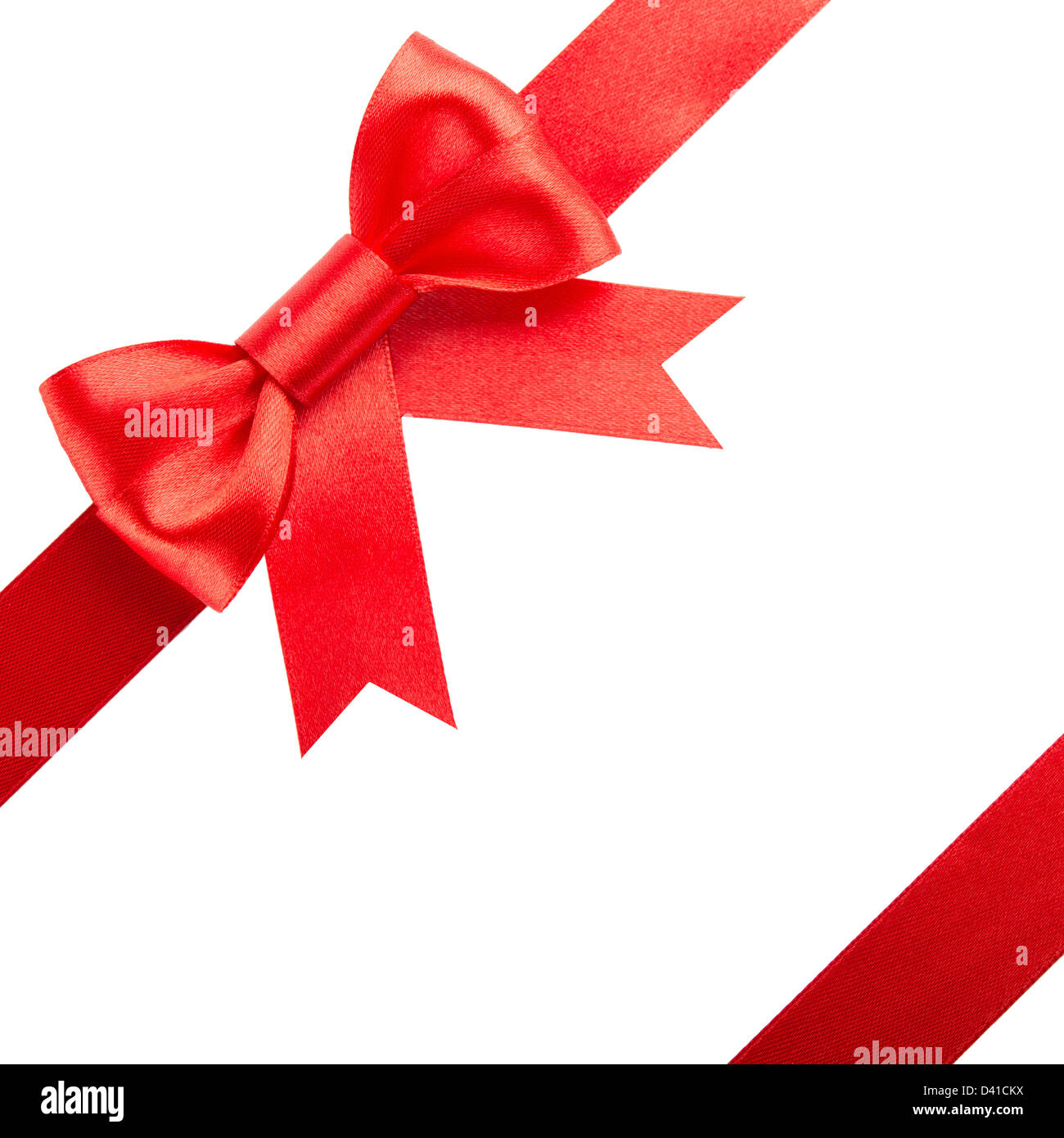 Red bow and ribbons isolated on white background - Stock Image