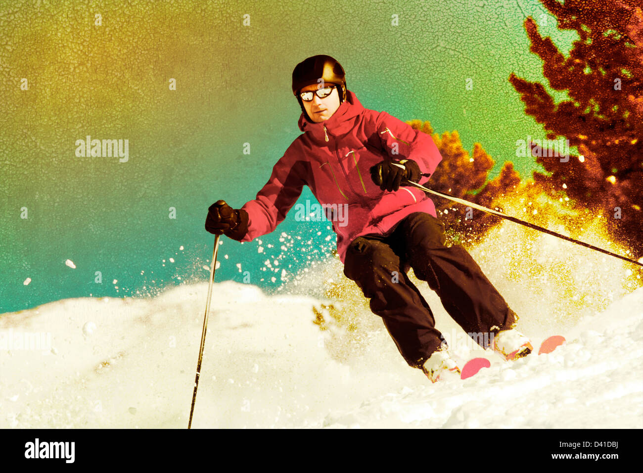 Back country skier with retro photo effect - Stock Image