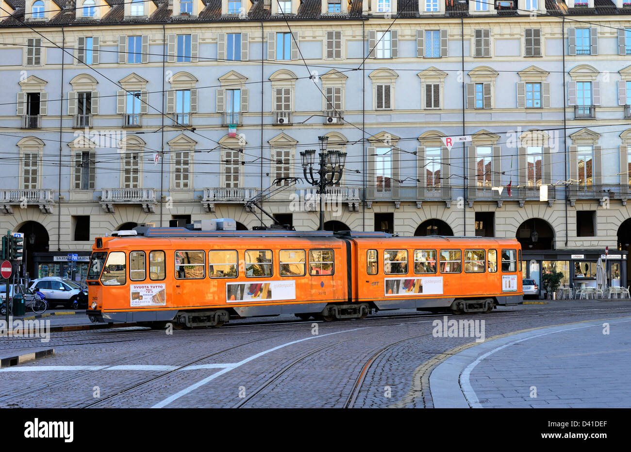 An old tram in Turin Italy. - Stock Image
