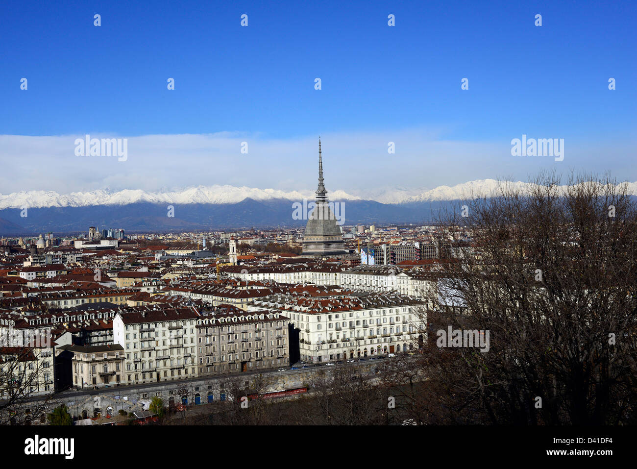 The city of Turin with the Italian Alps in the background. - Stock Image