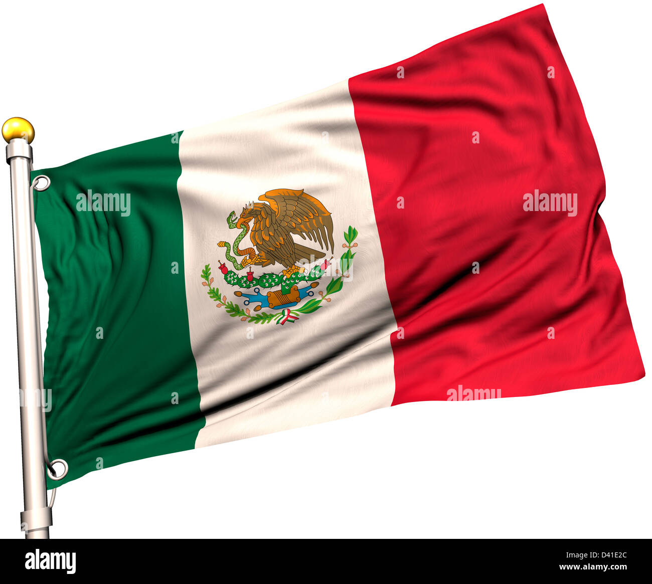 Mexico flag on a flag pole. Clipping path included. Silk texture visible on the flag at 100%. - Stock Image