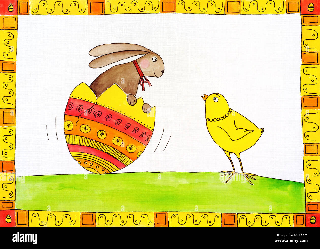 Easter card, child's drawing, watercolor painting on canvas paper - Stock Image