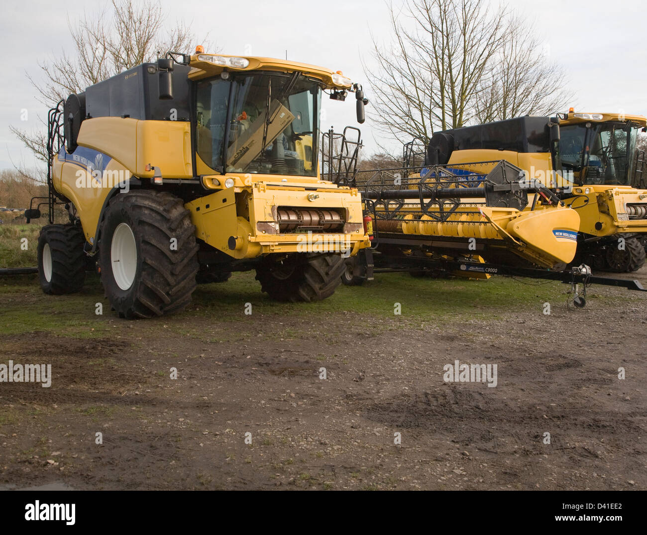New Holland CR range combine harvester machines, Suffolk, England - Stock Image