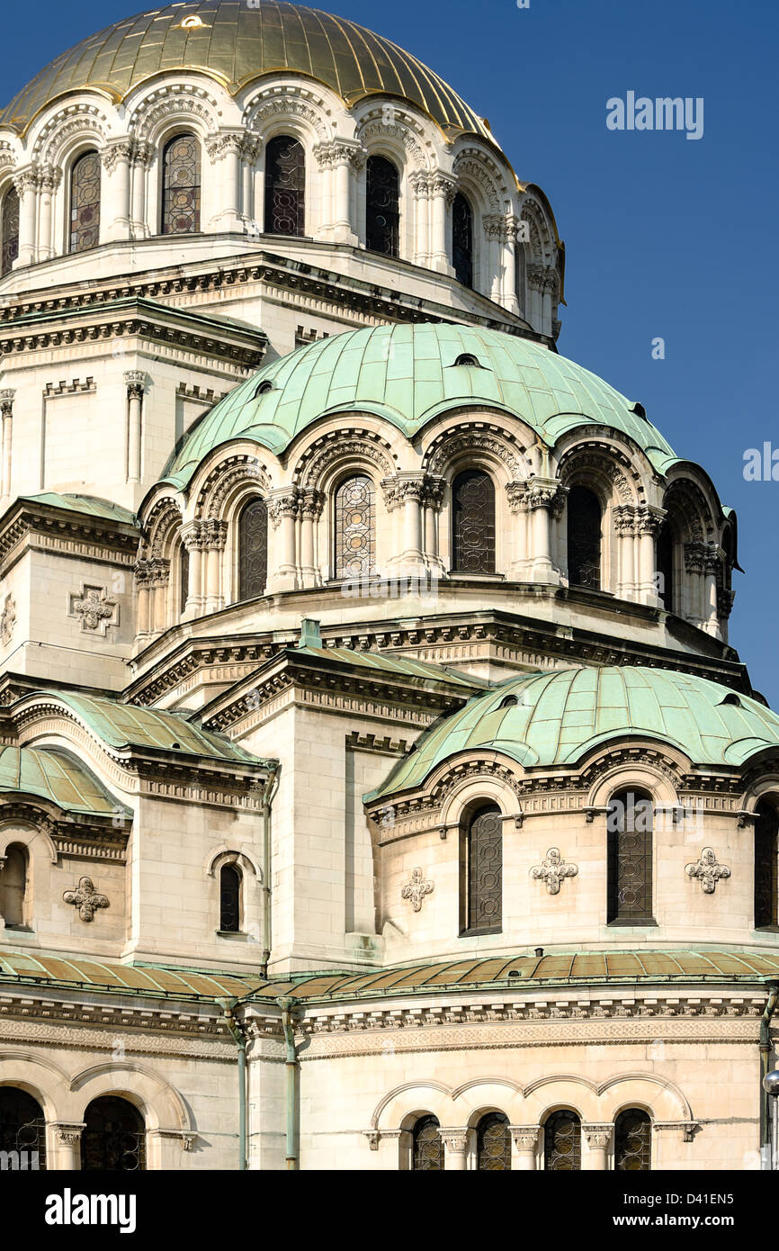 Domes of St. Alexander Nevsky Cathedral, Sofia, Bulgaria, Europe - Stock Image