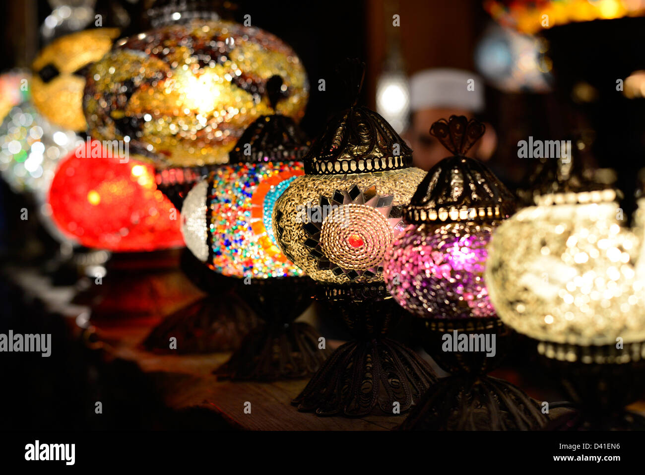Turkish style colored hanging lights with a teardrop design of colorful glass mosaics. Stock Photo