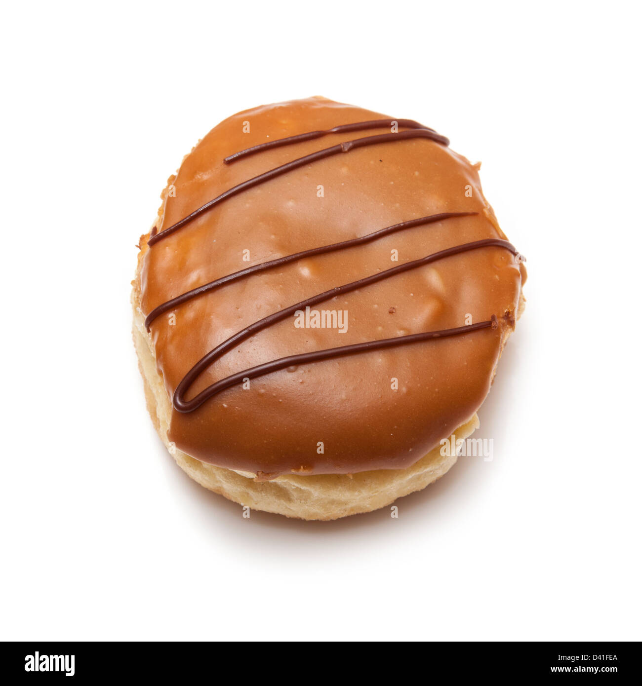Iced donut isolated on a white studio background. Stock Photo