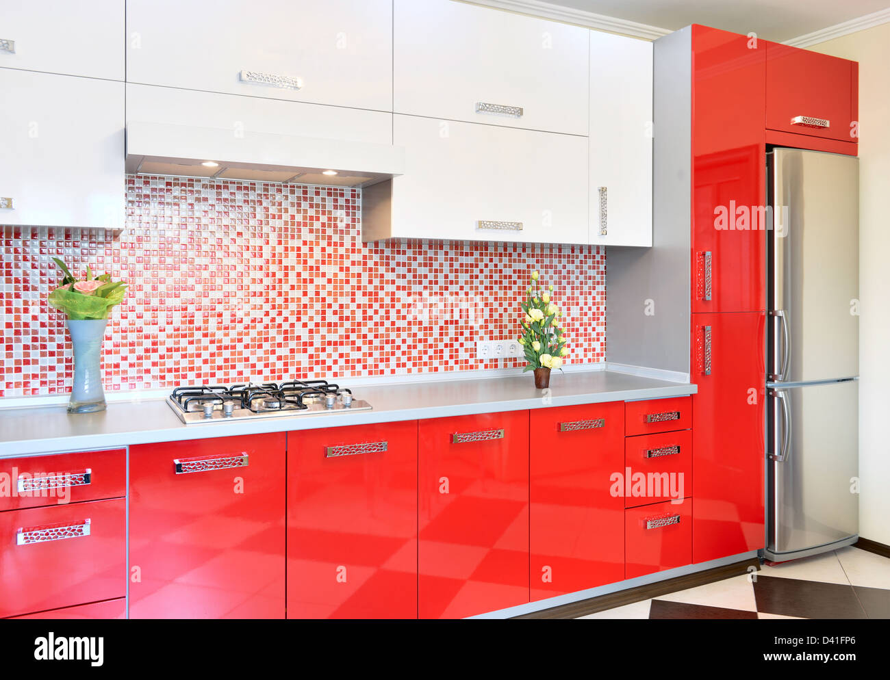 Red Kitchen Cabinet High Resolution Stock Photography And Images Alamy