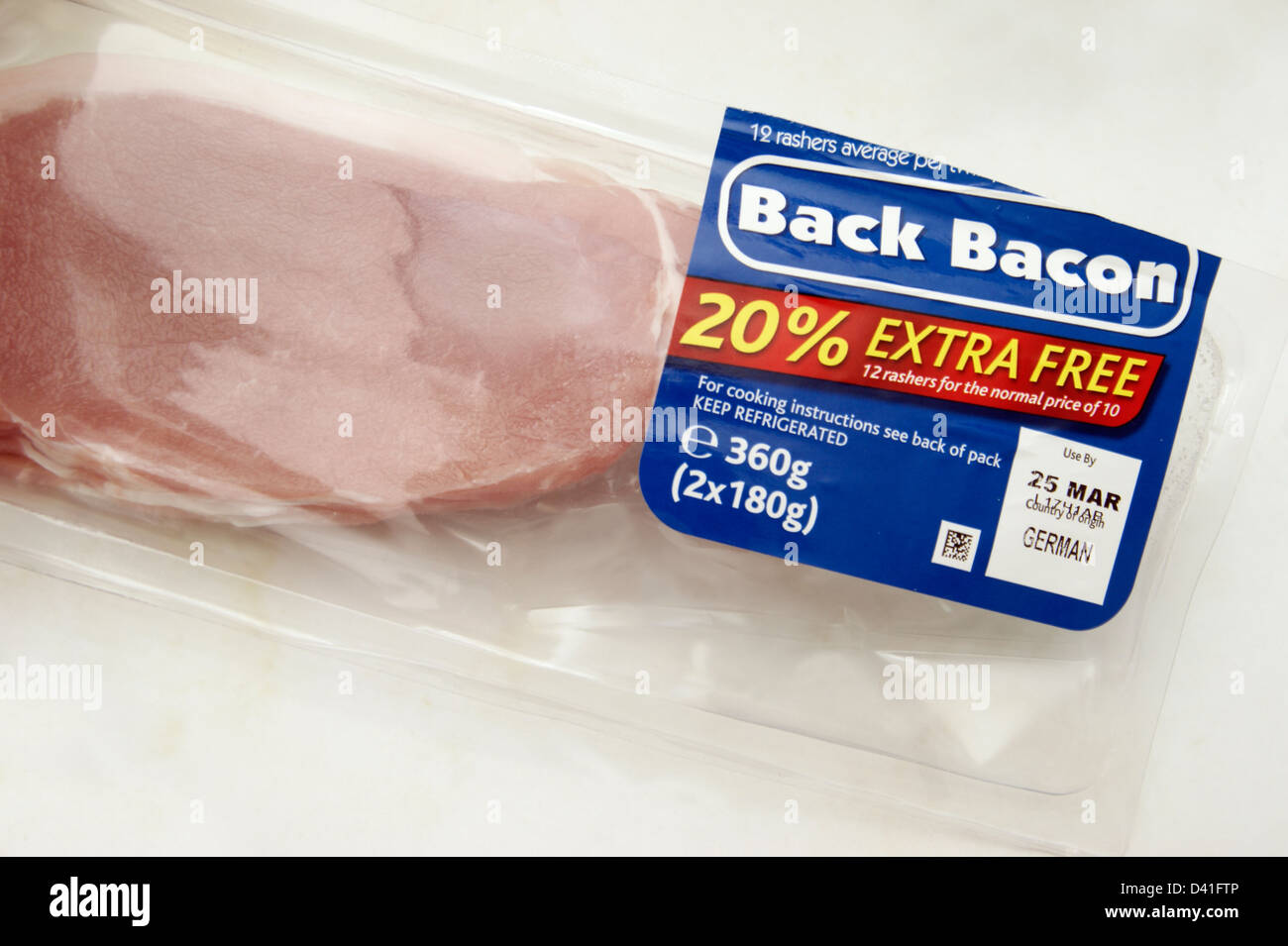Pack of Back Bacon with 20% extra free 12 rashers for the price of 10 country of origin Germany - Stock Image