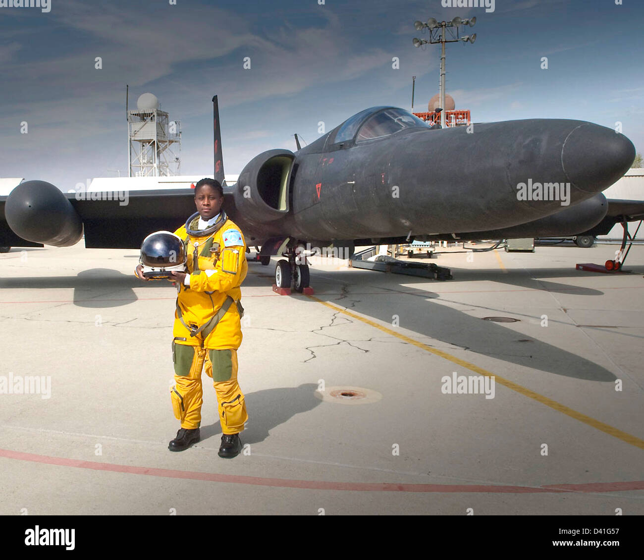 Air Force Lt. Col. Merryl Tengesdal poses with a U-2 reconnaissance aircraft at the North American Aerospace Defense - Stock Image