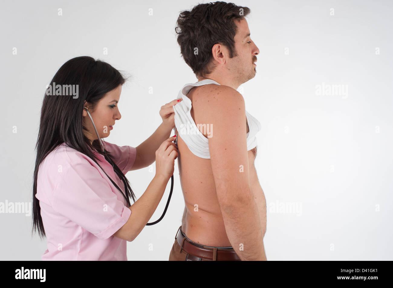 nurse auscultation Stock Photo
