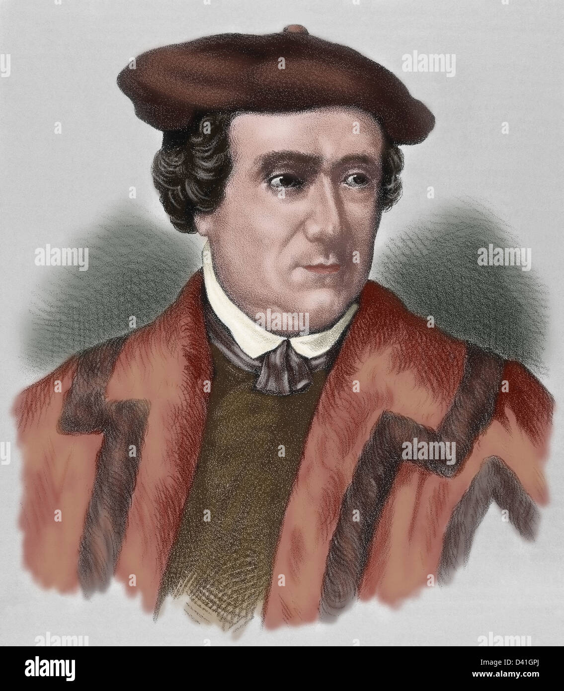Martin Luther, (1483-1546). German reformer. Doctor of Theology and Augustinian priest. Colored engraving. - Stock Image