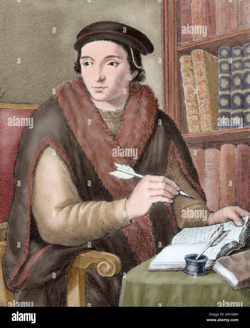 Juan Luis Vives (1493-1540). Valencian scholar and humanist. Colored engraving. Stock Photo