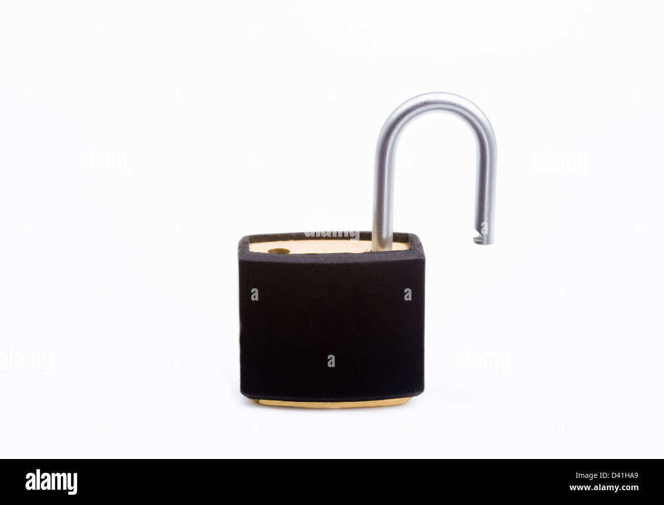 Unlocked, open padlock. - Stock Image