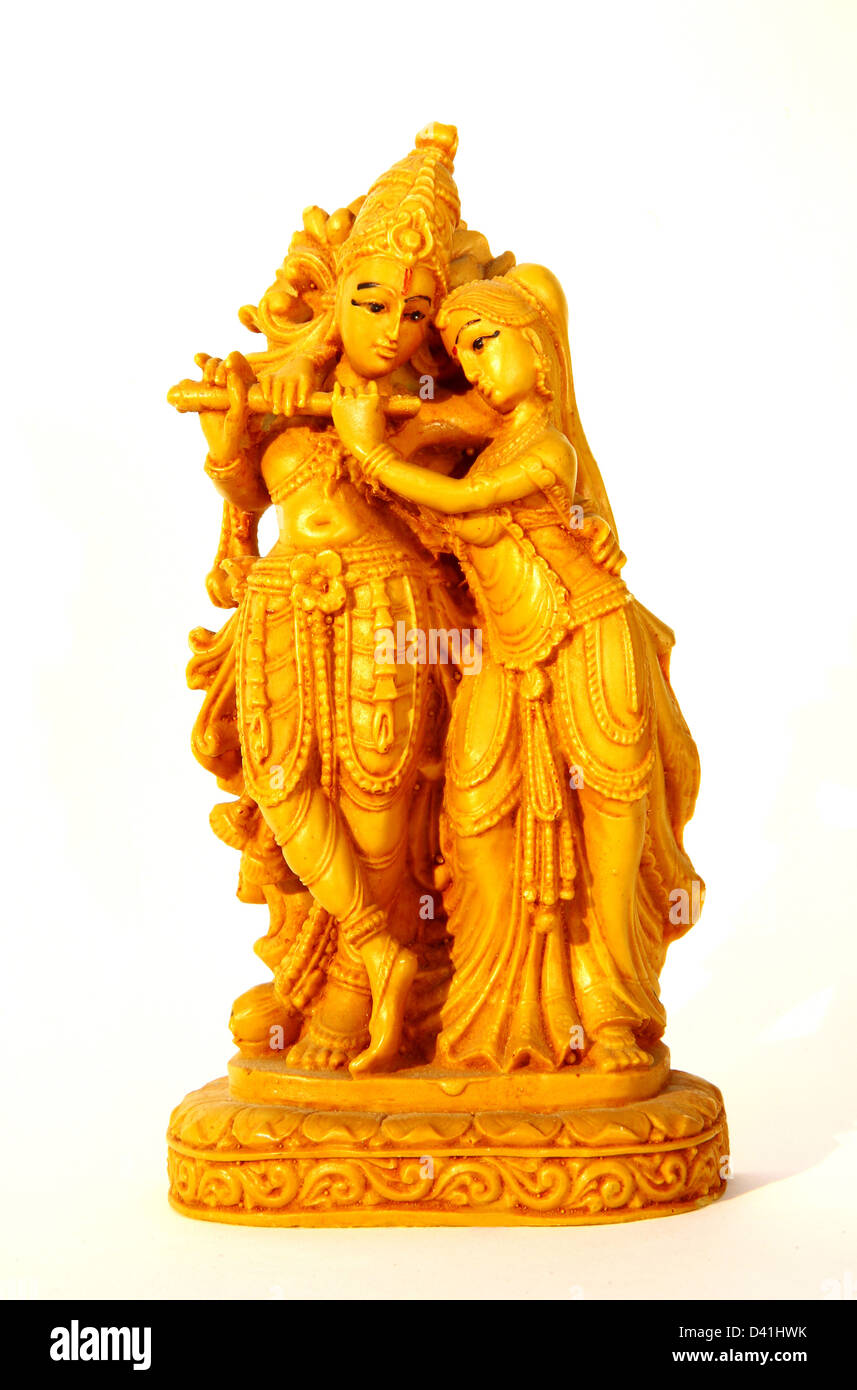 statuette krishna and radha on white background D41HWK