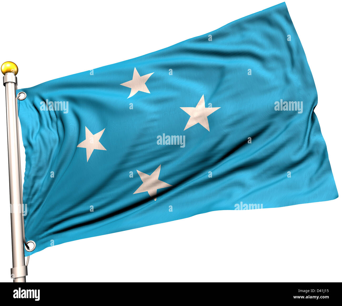 Micronesia flag on a flag pole. Clipping path included. Silk texture visible on the flag at 100%. - Stock Image