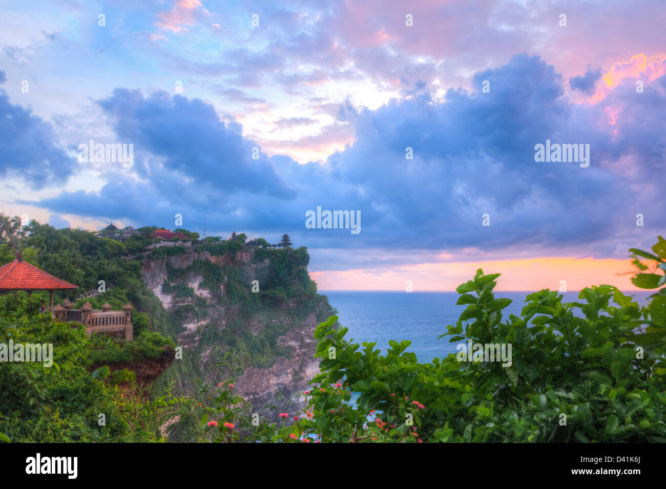 A view of Pura Luhur Uluwatu and Indian Ocean - Stock Image