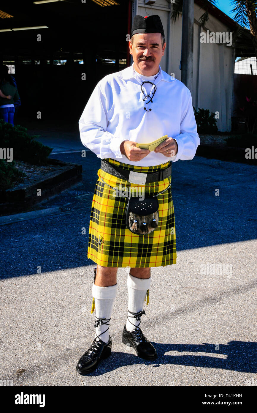 Man in his Kilt at the Sarasota Highland Games in Florida - Stock Image