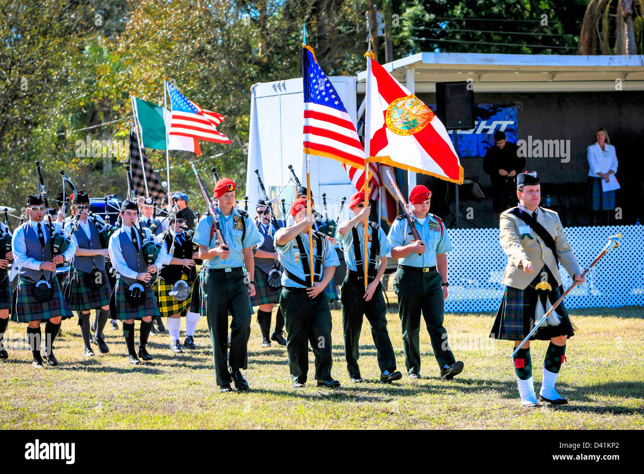 Entrance of the Scottish pipe bands at the Sarasota Highland Games Florida lead by an honor guard and national and Stock Photo