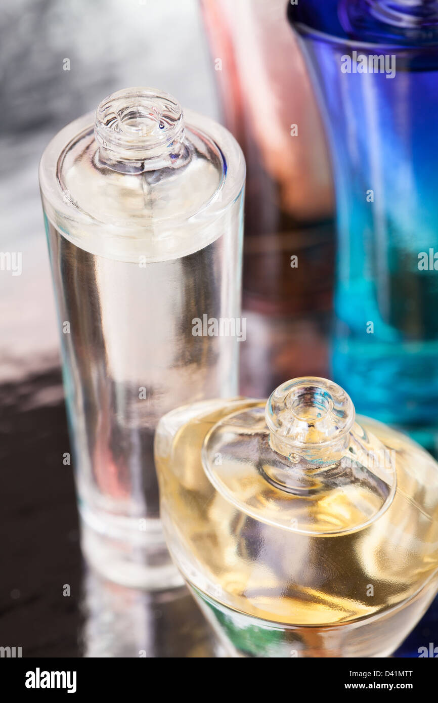 perfume bottles full frame closeup - Stock Image