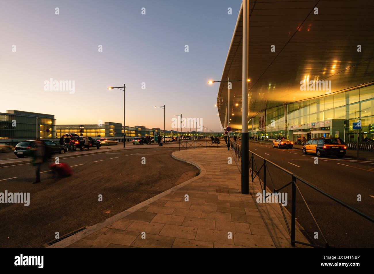 Barcelona Airport, the terminal T1 arrivals at sunset. Catalonia, Spain. - Stock Image