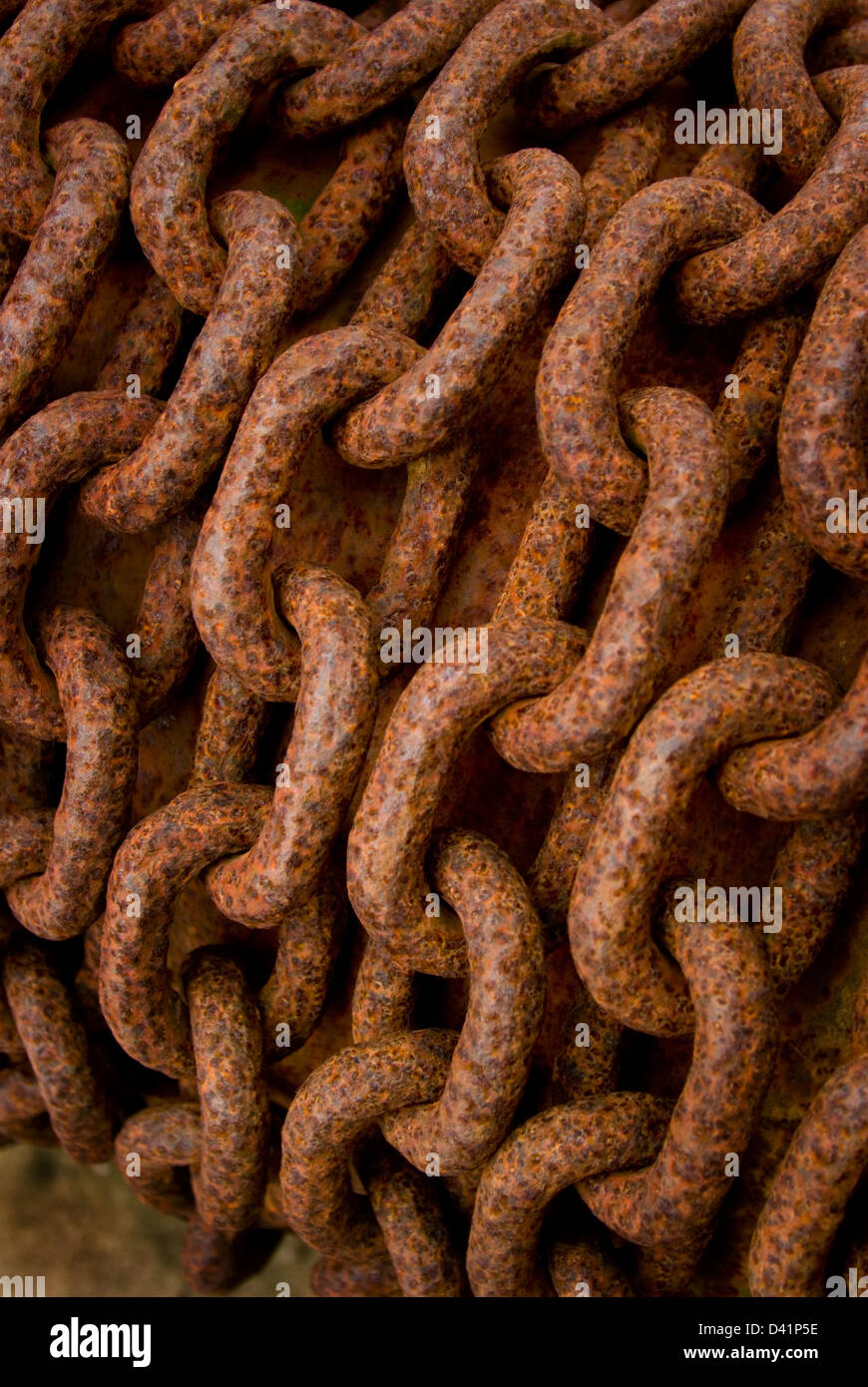 Old rusty / rusted chain, strong, strength or reliable concept. - Stock Image