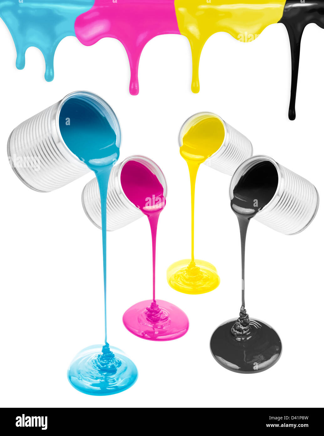 Magenta, cyan, yellow and black liquid paints isolated - Stock Image