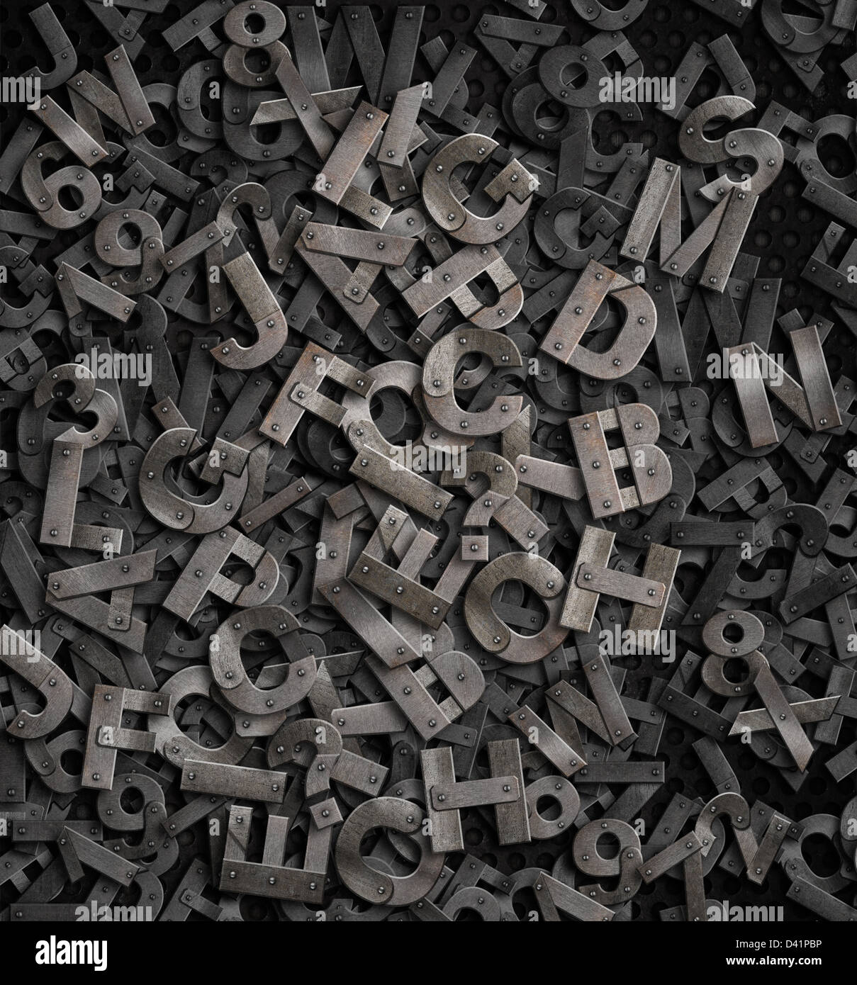 old metal letters background - Stock Image