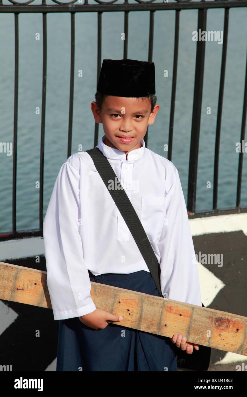 Brunei, Bandar Seri Begawan, schoolboy, - Stock Image