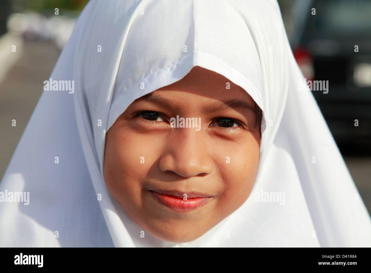 Brunei, Bandar Seri Begawan, schoolgirl, - Stock Image