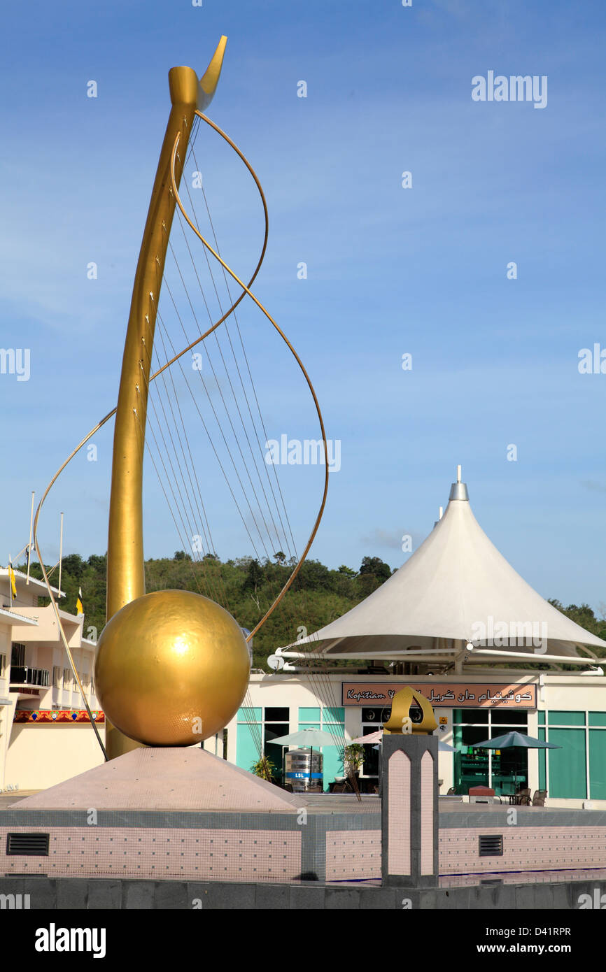Brunei, Bandar Seri Begawan, riverside, monument, - Stock Image