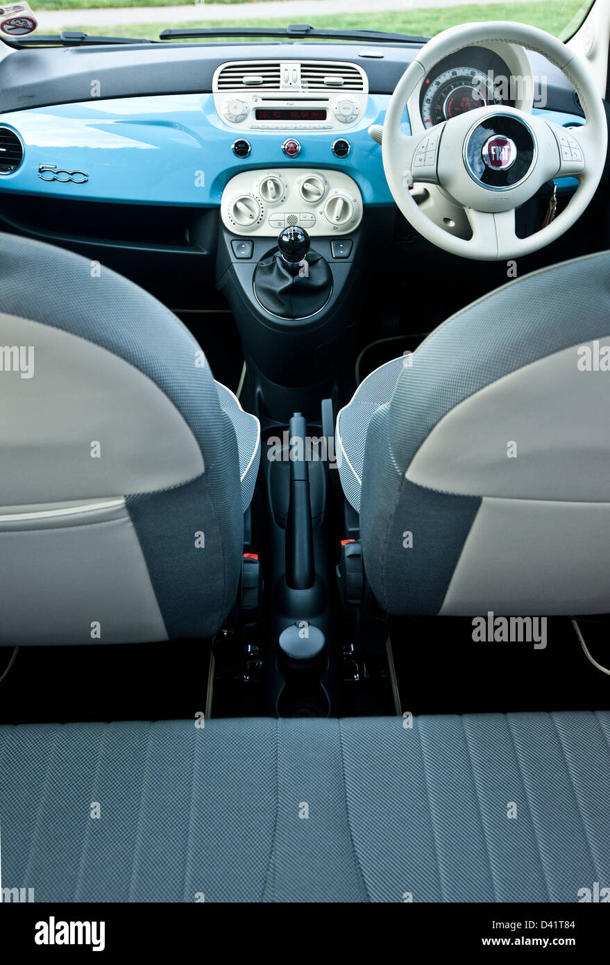 Interior dashboard of the Fiat 500 Twin Air, Winchester, UK, 22 11 ...
