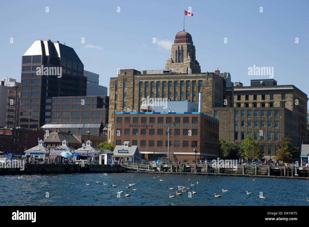 The waterfront of Halifax harbour, with the Dominion Public Building in the background - Stock Image