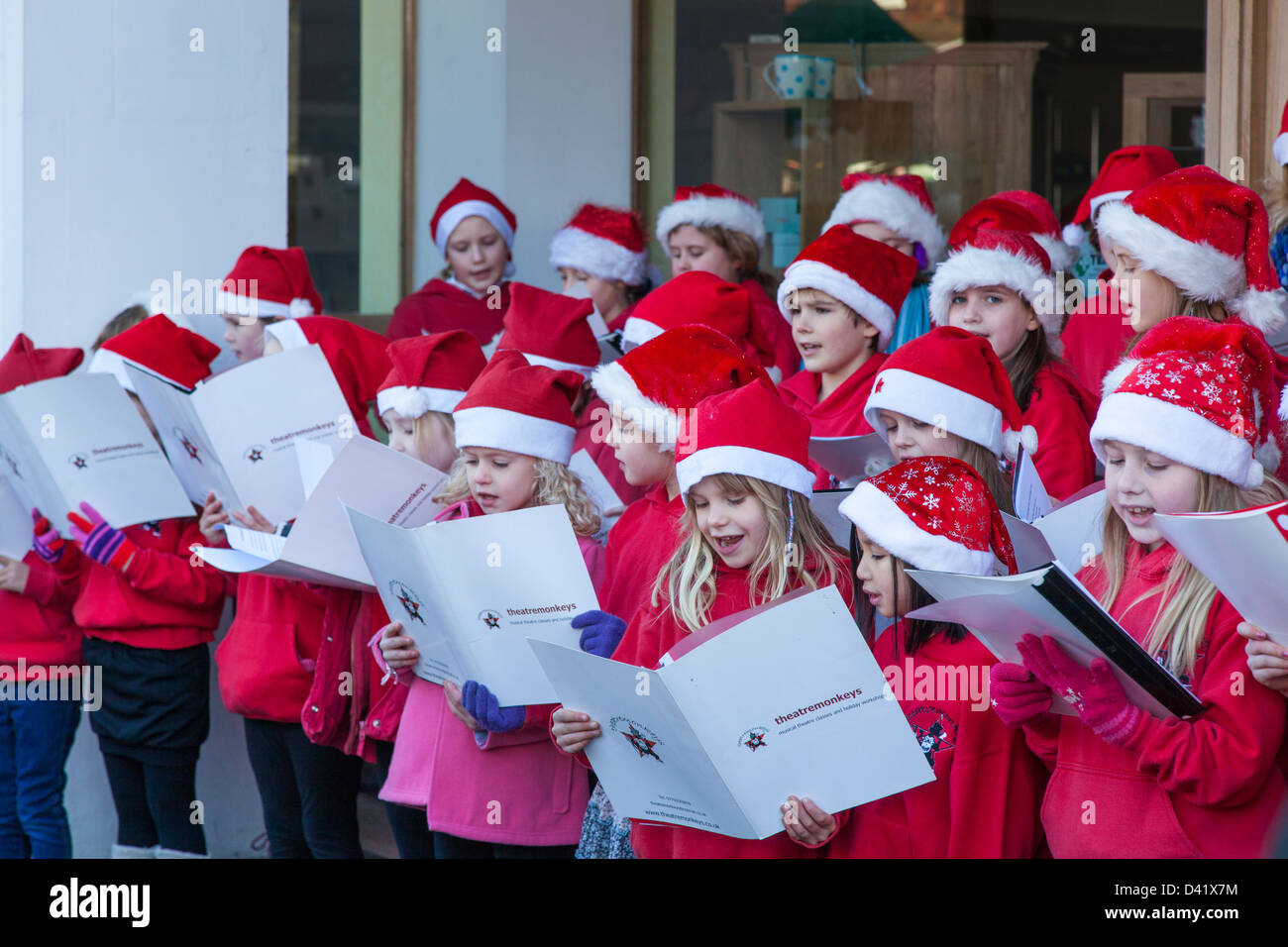 Christmas Choir.A Young Children S Choir Dressed For Christmas Sing To A