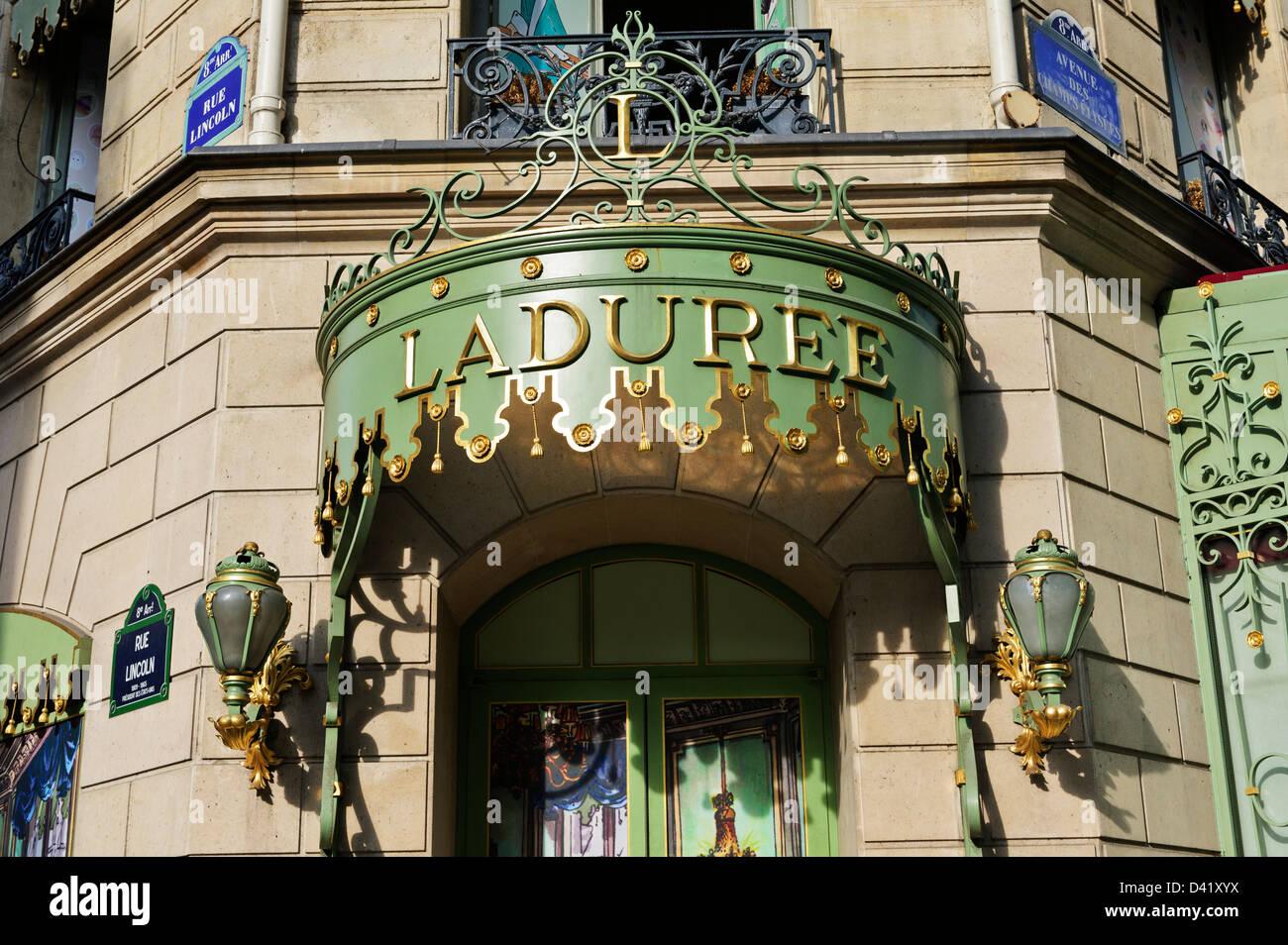 LaDuree patisserie classic main entrance, Paris, France. - Stock Image