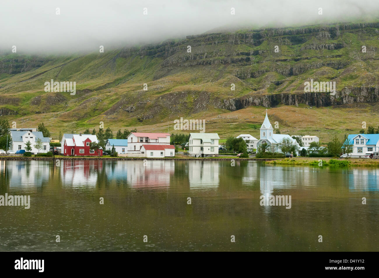wooden craft home in Seydisfjordur, Iceland - Stock Image