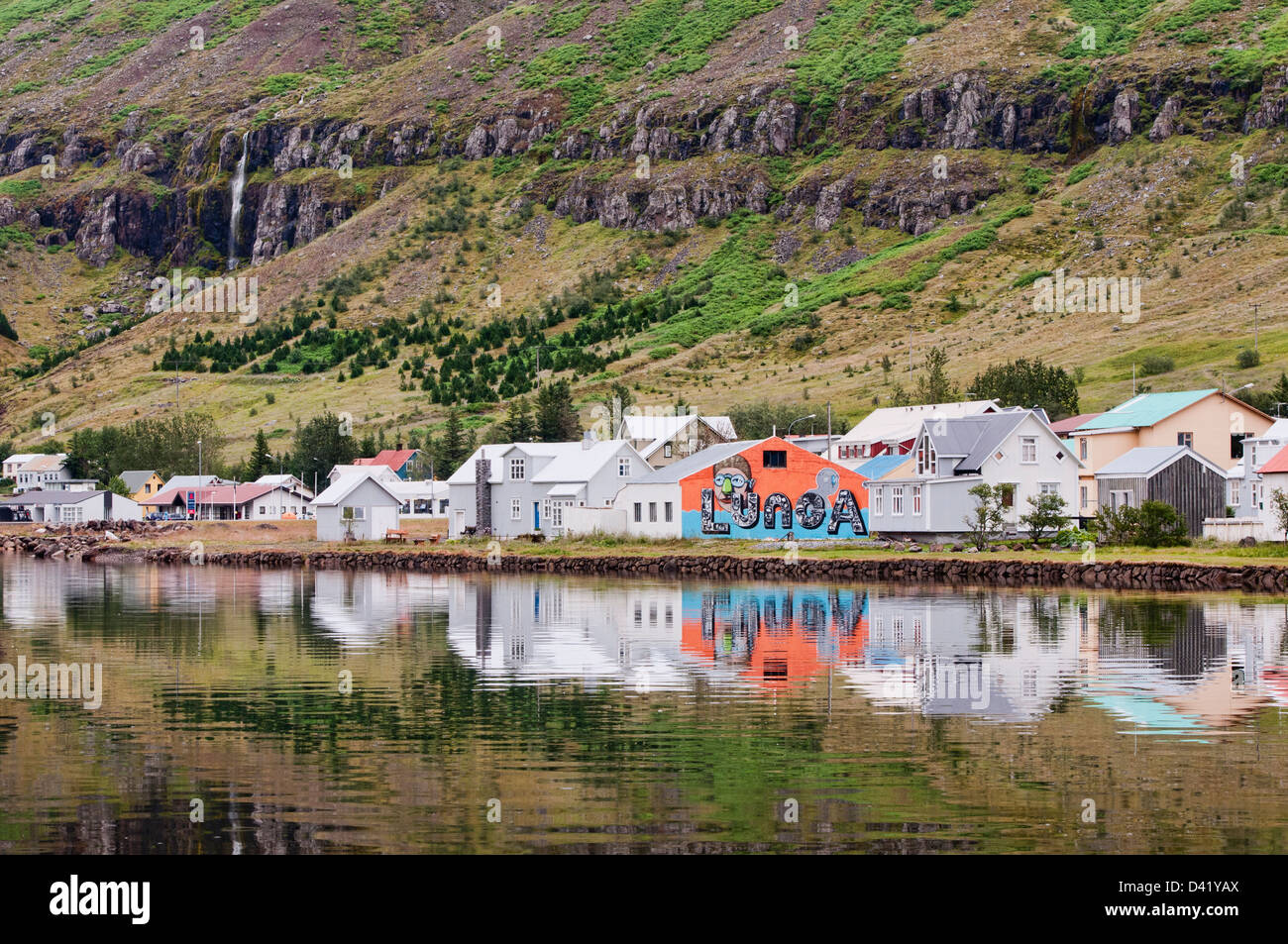 view of the town of Seydisfjordur, Iceland - Stock Image