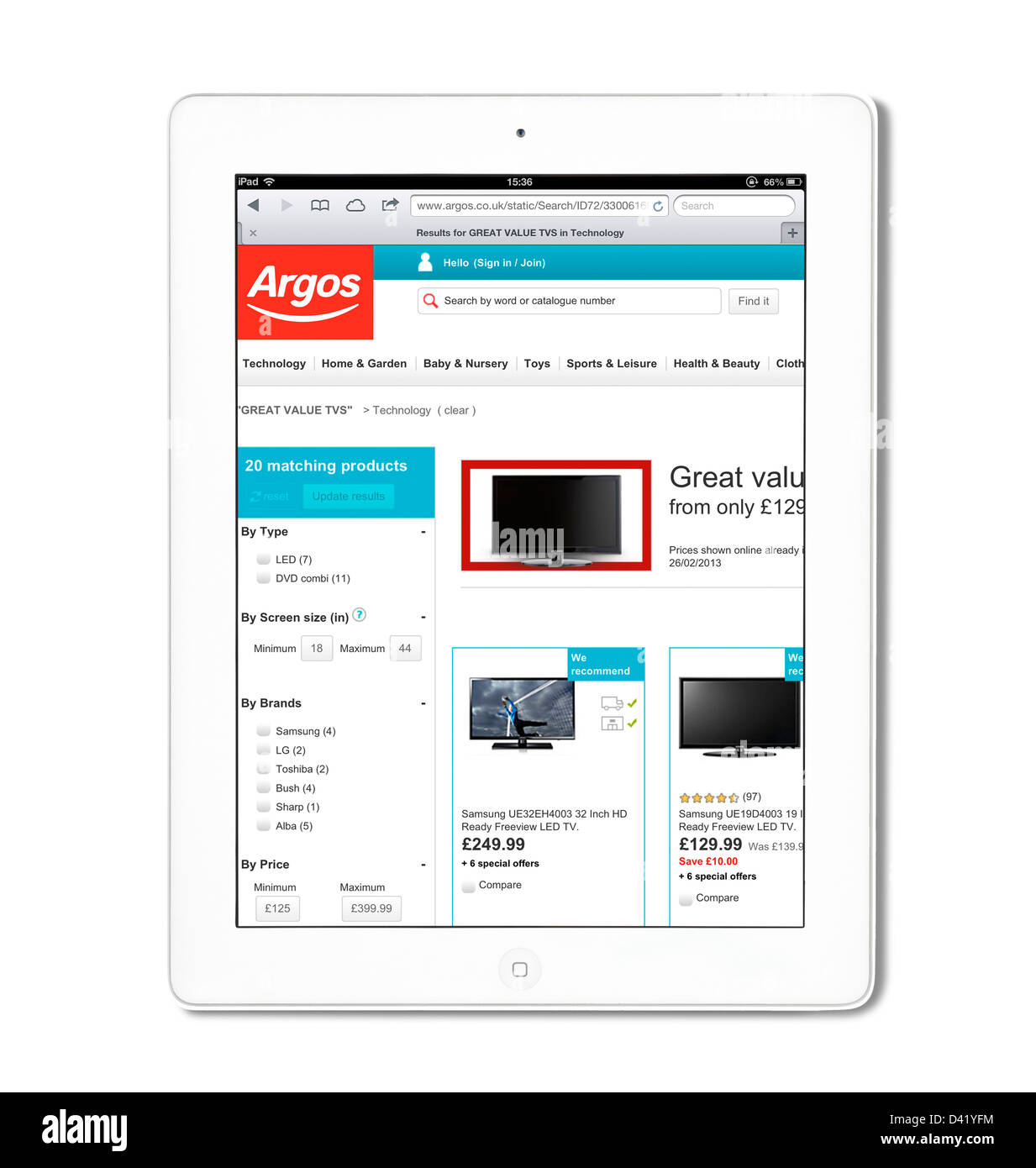 The Argos catalogue store website viewed on a 4th generation Apple iPad - Stock Image