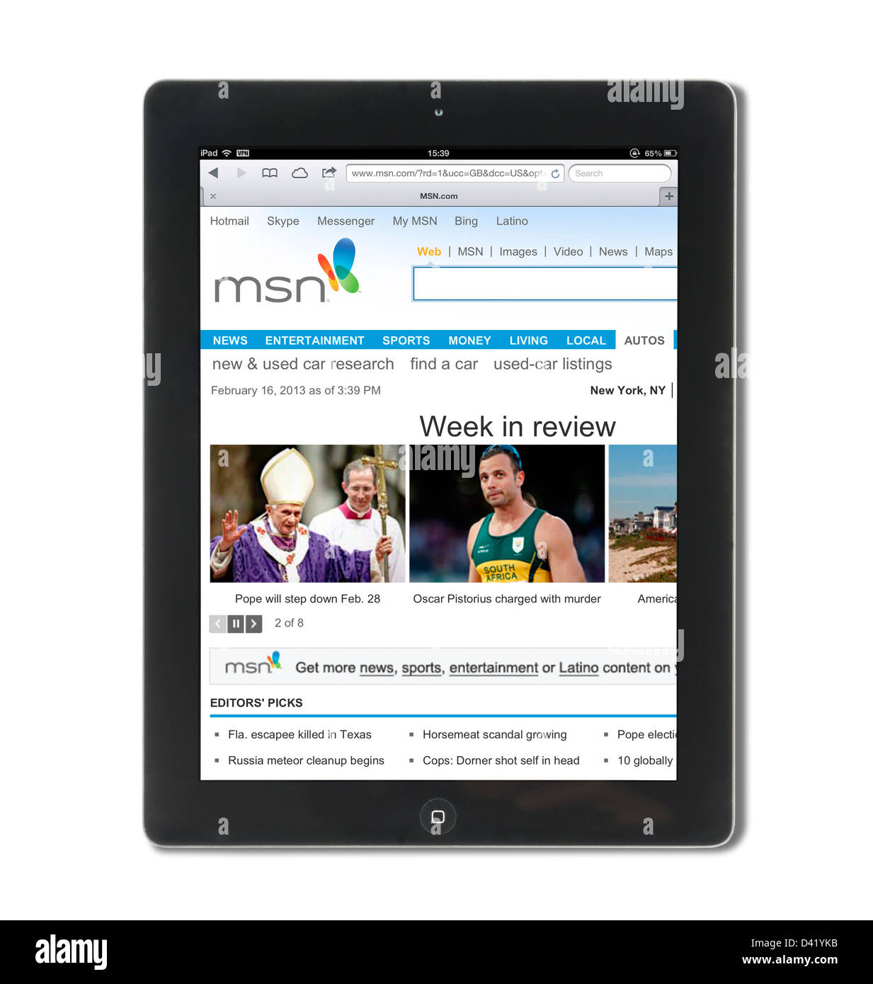 The MSN website viewed on an iPad 4 - Stock Image
