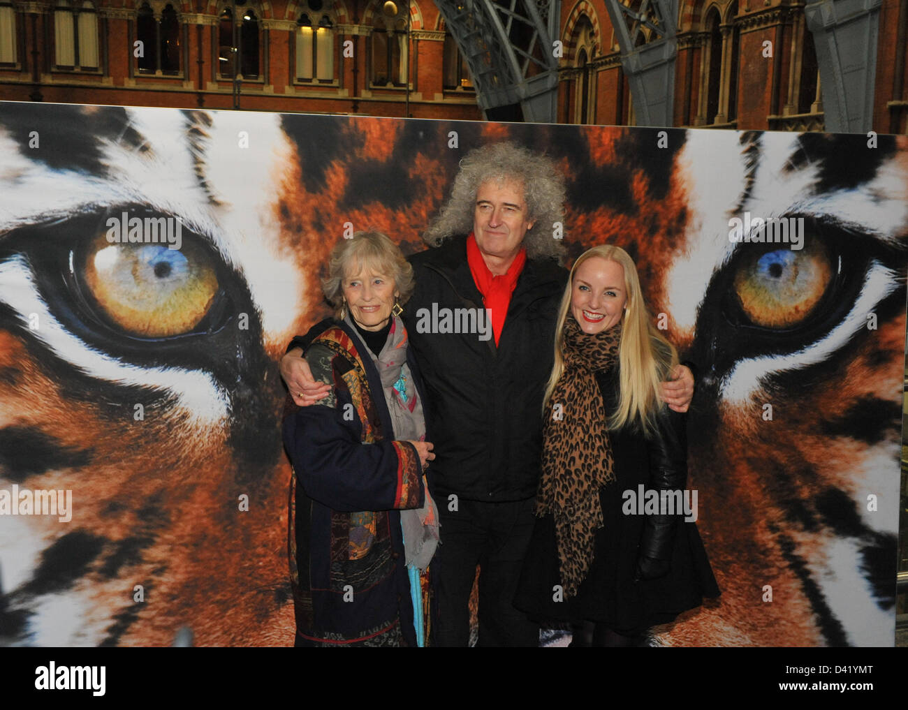 St Pancras Station, London. UK. 1st March 2013. Brian May, Virginia McKenna and Kerry Ellis at the live event to Stock Photo
