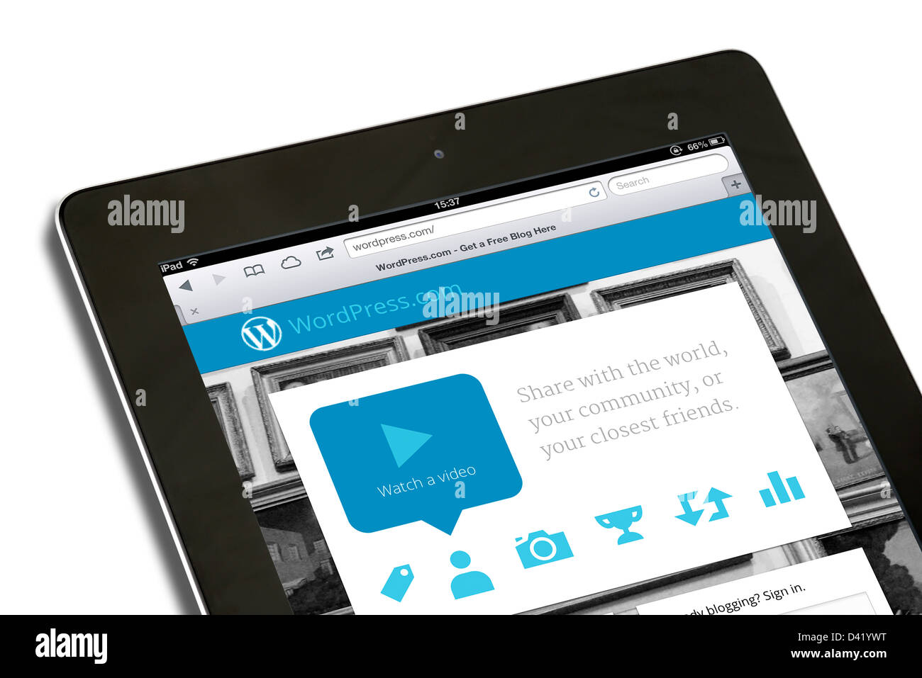 Website of the open source blogging tool, Wordpress, viewed on an iPad 4 - Stock Image